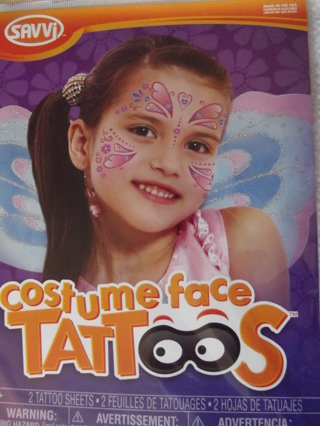 BNIP SAVVI Costume Face Tattoos Butterfly/ Fairy Theme