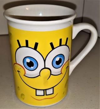"""2016 Viacom SpongeBob SquarePants ceramic mug - 4"""" high x 3"""" diameter - weight 10 oz. - VG condition"""