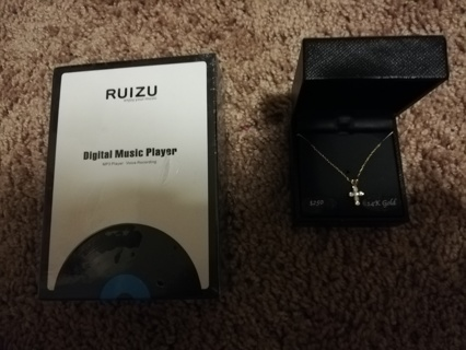 14k gold necklace and digital music player