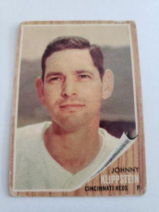 1962 topps Johnny Klippstein Cincinnati Reds vintage baseball card