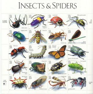 SCOTT #3351 US SOUVENIR SHEET INSECTS AND SPIDERS 33 CENT MNH