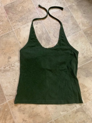 CUTE ARMY GREEN HALTER TOP