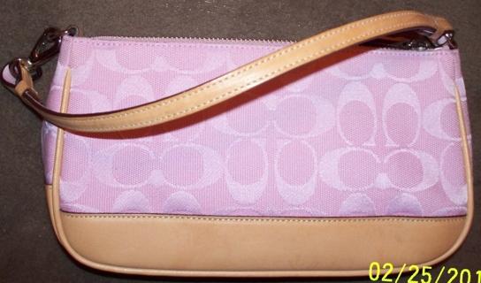 Easter Pink Coach Signature Jacquard Leather Demi Baguette Clutch Handbag Gin Bonus