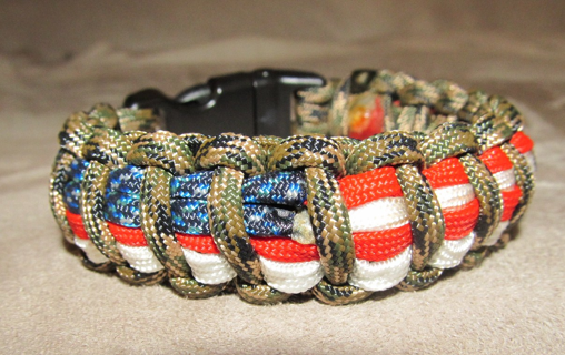 Camo And American Flag Patriotic Paracord Bracelet With Whistle Buckle