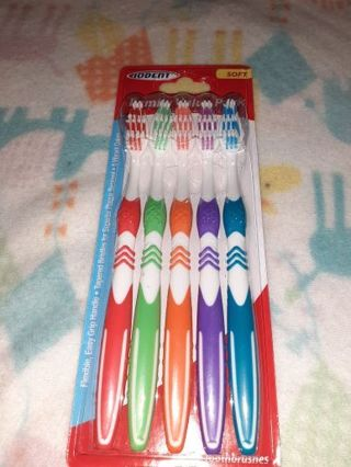 "⭐◈⭐◈⭐BRAND NEW 5 PACK OF ""IODENT®"" SOFT COLORFUL TOOTHBRUSHES⭐◈⭐◈⭐"