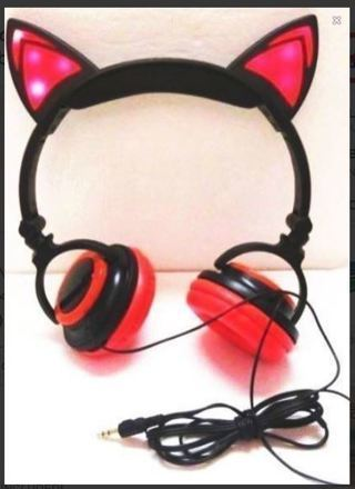NEW Light Up Headphones Kitty Cat Earphones Headset Long 5 Ft. Cable FREE SHIPPING