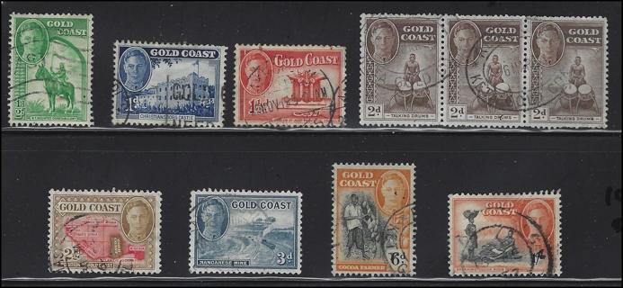 1948 Gold Coast stamps (8), U/VF, with Scott IDs, est Scott CV $10.40