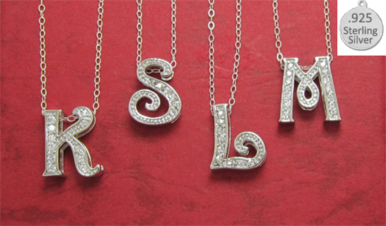 LETTER ONLY STERLING SILVER (925) SLIDE LETTER Your Choice A-Z NEW NECKLACE or BRACELET