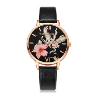 Women's Fashion Leather Round Wrist Watch