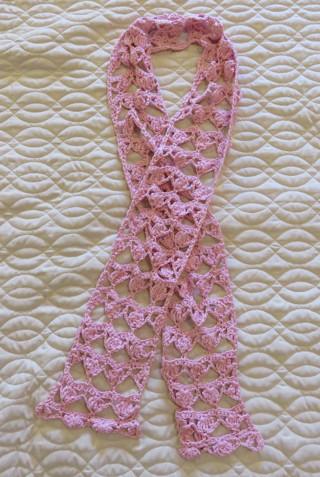 "Ladies Crocheted Pink Scarf BN 5"" X 64"""