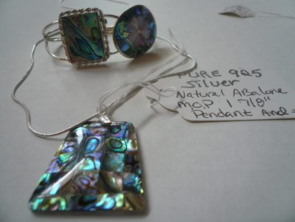 **LOWERING START BID**MOTHER OF PEARL ABALONE .925 NECKLACE BRACELET AND PIN SET
