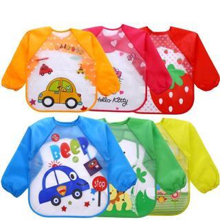 Baby Bibs Infant Burp Cloths Toddler Scarf Feeding Smock Long Sleeve Waterproof Coverall Baby Anim