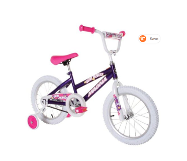 "Dynacraft Magna Starburst Girls BMX Street/Dirt Bike 16"", Purple/White/Pink"