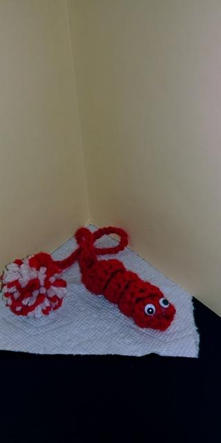 Crochet New 3-way Idea (B-7522)  FAN PULL / BOOKWORM or CAT TOY - Red & white