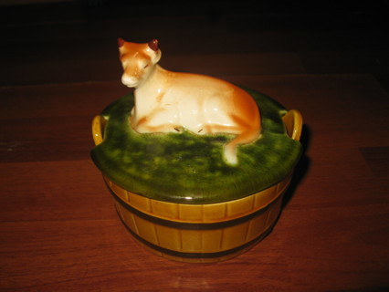 RARE Vintage Ceramic Cow sitting on Grass Lidded Bowl - Made in Portugal - Perfect Shape