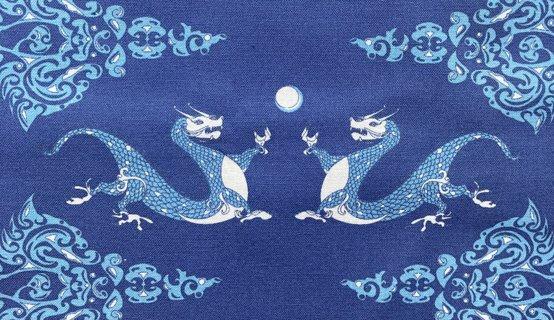 Blue Dragon - Printed Cotton Fabric