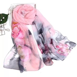 Scarves silk scarf scarf women floral Lotus Printing Long Soft Wrap Scarf Ladies Shawl veil