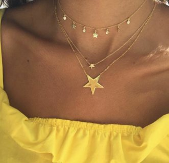Punk Multilayer Stars Crystal Pendant Gold Clavicle Chain Ladies Charm Trendy Necklace Charm Jewelry