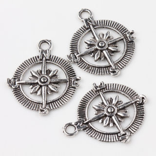 20PCs Silver Plated Compass Charm Necklace Bracelet Bangle Pendant 29*24mm