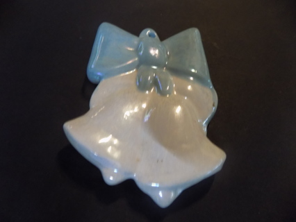3 inch pearlescent white bells and blue bow ornament