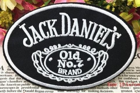 alcohol brand letter logo iron on fabric patch embroidered applique cloth vest Badge jack daniel's