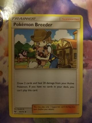 Pokemon Breeder Pokemon trainer supporter card