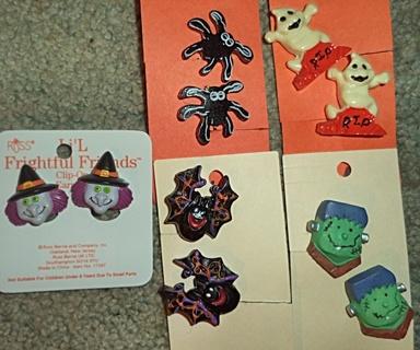 Lot of 5 Halloween  Earrings -- Clip-On