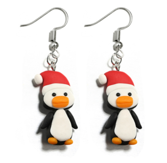 2 Pairs Women Earring 3D Penguin