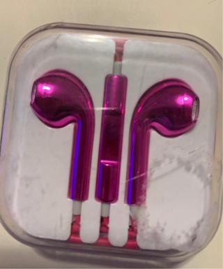 Pink earbuds