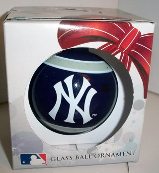 """MLB NY Yankees """"Bronx Bombers"""" Glass Ball Ornament by Forever Collectibles in original box - NIP"""