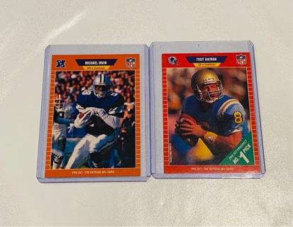 1989 Proset Troy Aikman & Michael Irvin Rookies! *Mint!*