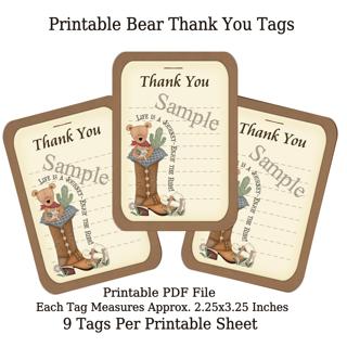 Printable Western Bear Thank You Tags