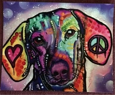 "GROOVEY DOG!  - 4 x 6"" Art Magnet"