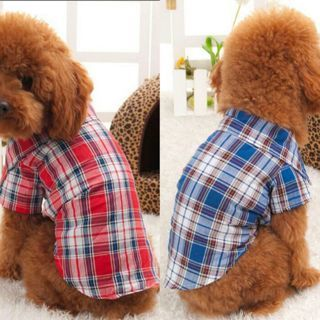 Fashion Pet Dog Puppy Plaid T Shirt Lapel Coat Cat Jacket Clothes Costume Tops