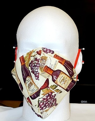 FACE MASK ADJUSTABLE BAND IN WINE PRINT OLDER TEEN/ADULT***LQQK***
