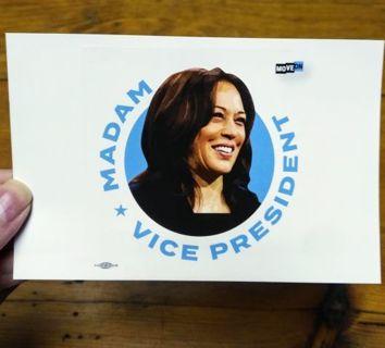 New MADAM VICE PRESIDENT Sticker featuring Kamala Harris