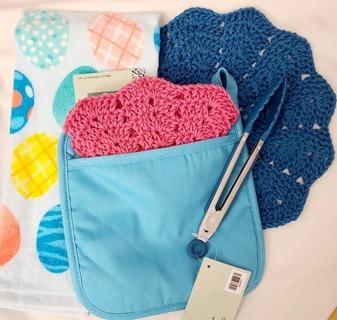 "Crochet 2 - 9"" Dish Cloth/Wash Cloths 1 TERRY CLOTH DISH TOWEL***1 POTHOLDER 1 PAIR TONGS"