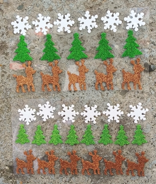 CHRISTMAS GLITTER FOAM RUBBER STICKERS SNOWFLAKE TREES REINDEER STICKERS