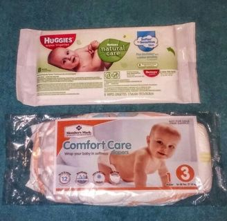 ⭐Brand New⭐ Travel Pack of Huggies Wipes and Size 3 Diaper