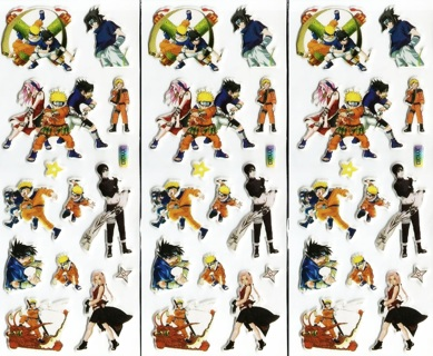 NARUTO ANIME Pop Up 3-D Stickers Super Cute!..Winner Receives ONE SHEET! FREE SHIPPING Manga SHONEN
