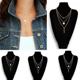 Luxury Women 3 Layers Geometry Charms Crystal Diamante Gold Silver Chain