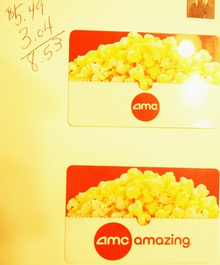 2 AMC Movie Gift Cards totaling $8.53
