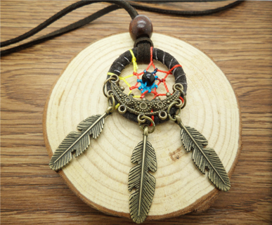 DIY Retro Handmade Dreamcatcher Feathers With Bead Long Chain Black Necklace