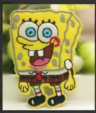 1 NEW SPONGEBOB IRON ON Patch Square Pants Clothing Embroidery Applique Decoration