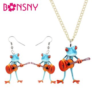 Bonsny Acrylic Jewelry Set Guitar Blue Red-finger Frog Necklace Earrings Funny Cool Pendant For