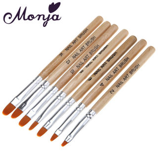 7pcs wooden Nail Art French Acrylic UV Gel Tips Extension Builder Brush Pen