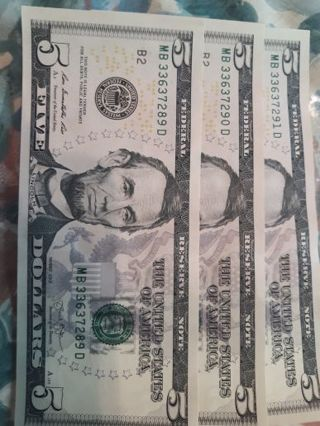 Three Sequentially Numbered Five Dollar Bills & Repeater + ???? Gifts.