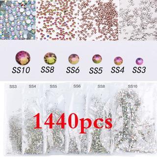 1440pcs Flat Back Nail Art Rhinestones Glitter Diamond Gems 3D Tips DIY Decor