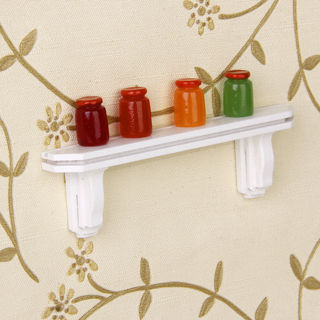 1:12 White Wooden Wall Shelf Rail Rack Kitchen Dollhouse Miniature Toy Supplies