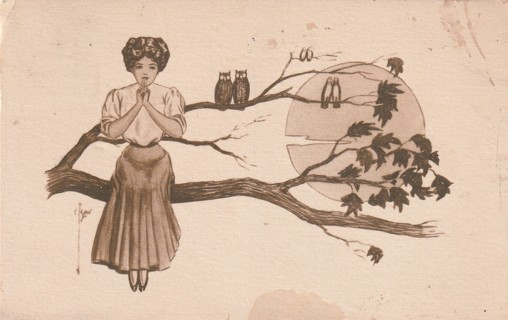Vintage Used Postcard: 1910 Lady in tree with Owls